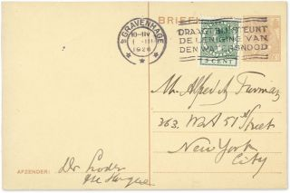 Autograph Note, Signed, on the back of a 7-1/2 cent Netherlands...