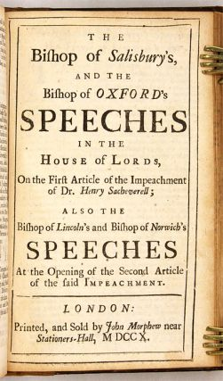 The Tryal of Dr. Henry Sacheverell, Before the House of Peers...