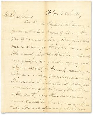 1827 Autograph Letter Signed,To Edward Everett, With Everett's