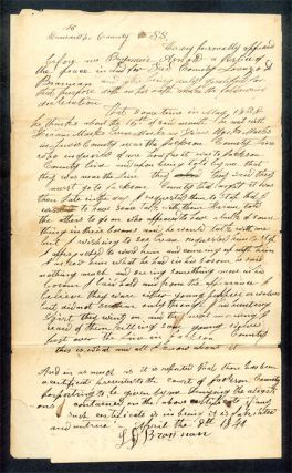 Autograph Document Signed JP Benjamin Arnold. Deposition. Manuscript, Virginia, Wolf Bounties.