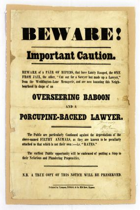 Beware! Important Caution, Beware of a Pair of Bipeds, That Have. Broadside, Great Britain.