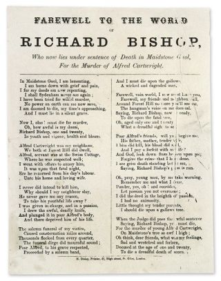 Farewell to the World of Richard Bishop, Who Now Lies Under Sentence. Broadside, Execution,...