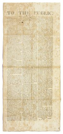 To The Public, In A Handbill Dated April 21, 1854, And Signed In. Broadside, Thomas J. Killen
