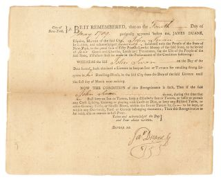 Tavern Licence Granted to John Swan by Mayor James Duane, 1789. Taverns, New York City, James Duane.