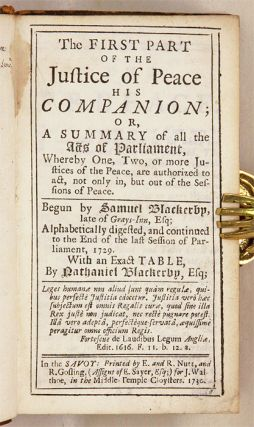 The First Part of the Justice of the Peace [And] The Second Part...
