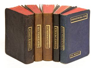 Italian Legal Codes, Five Volumes, 1901-1903. 75 x 50 mm. Italy, Miniature Books