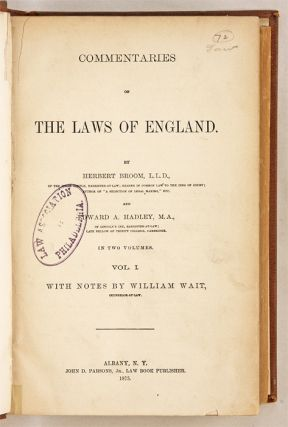 Commentaries on the Laws of England. 2 Vols. Albany, NY. 1875