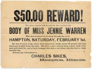 $50.00 Reward! The Above Reward will de Paid for the Recovery. Broadside, Accidental Death, Illinois.