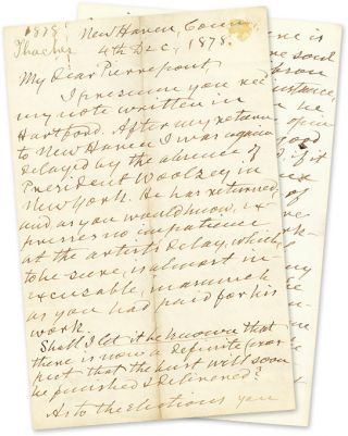 Autograph Letter, Signed, To Edwards Pierrepont, New Haven, 1878. Manuscript, Thomas Thacher,...