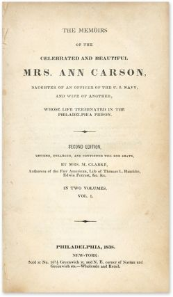 The Memoirs of the Celebrated and Beautiful Mrs Ann Carson, Daughter.