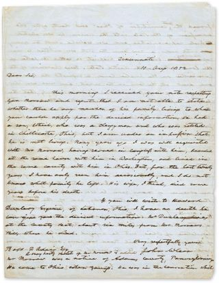Autograph Letter, Signed, To Jeremiah Morrow, Cincinnati, August 10. Manuscript, John McLean,...