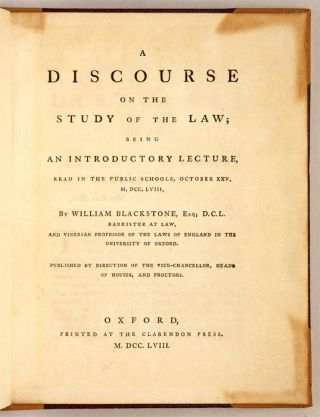 A Discourse on the Study of the Law; Being an Introductory Lecture...
