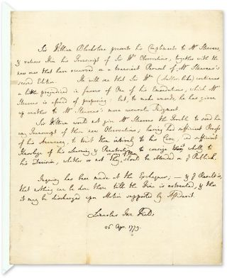 Autograph Letter (in Third Person) to George Steevens, 1779. Sir William Blackstone, G. Steevens.