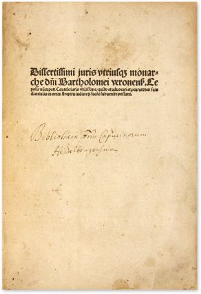 Cautelae Iuris, Strasbourg: Johann Pruss, 25 February 1490.