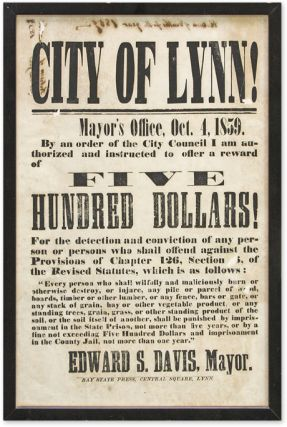City of Lynn! Mayor's Office, Oct 4, 1859, By an Order of the City. Broadside, Massachusetts,...
