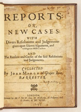 Reports: Or, New Cases; With Divers Resolutions and Judgements...