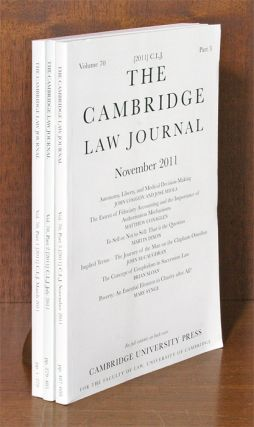 Cambridge Law Journal. Vol. 70 (2011). Complete in 3 parts. Cambridge University Press.