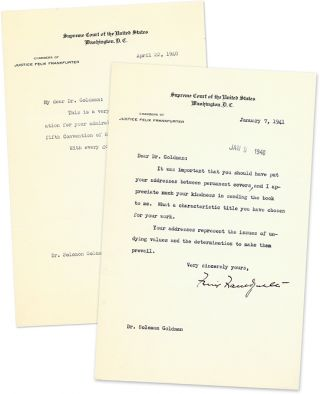 Two Typed Letters, Signed, On U.S. Supreme Court Letterhead, 1940-41. Manuscript, Felix...