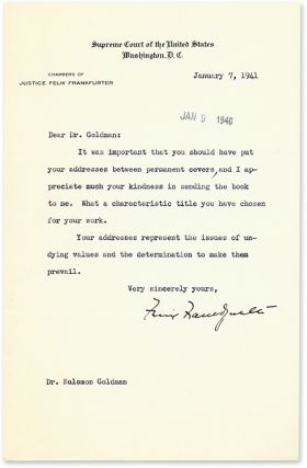 Two Typed Letters, Signed, On U.S. Supreme Court Letterhead, 1940-41.