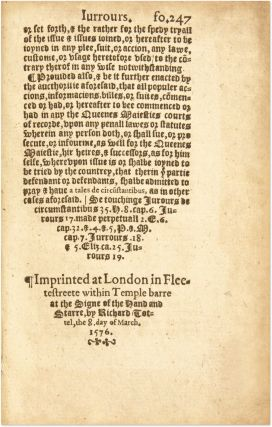Magna Charta, [Carta] Cum Statutis, London 1576 with Early Annotations