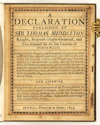 A Declaration Published by Sir Thomas Middleton Knight, Serjeant...