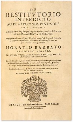 Tractatus de Miserabilium [Bound with] De Restitutorio Interdicto