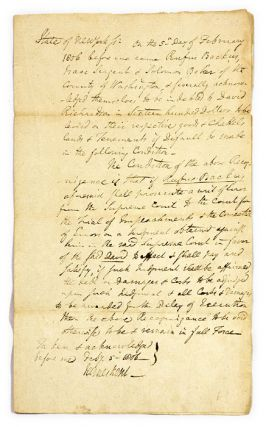 Court Document in Kent's Hand, Signed by Kent, February 5, 1806. Manuscript, James Kent