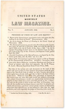 United States Monthly Law Magazine, Four Issues, 1852