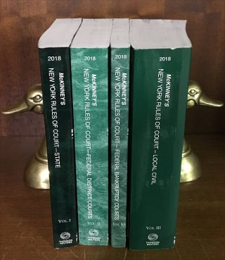 McKinney's New York Rules of Court 2018 Ed. State Federal Local 4 bks. Thomson Reuters