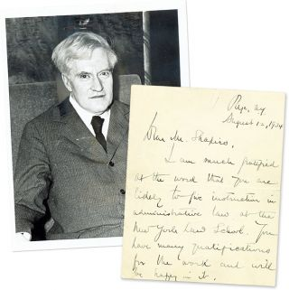 "Autograph Letter, Signed [with] 6"" x 8"" Black-and-White Photograph. Benjamin N. Cardozo, Harold Shapiro."