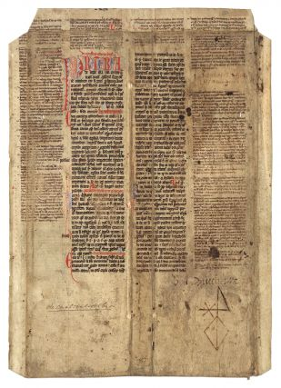 Leaf from a Papal Decretal Concerning Inheritance, France, C. 1270. Manuscript, Canon Law, Pope Clement III.
