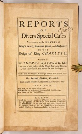 Reports of Divers Special Cases Adjudged in the Courts of King's...
