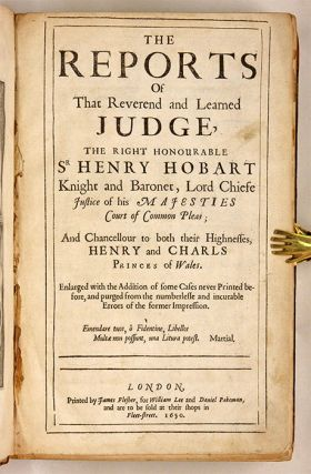The Reports of that Reverend and Learned Judge, The Right Honourable.