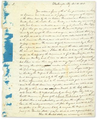 Autograph Letter, Signed, Washington, DC, December 16, 1825. Manuscript, George Wolf