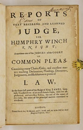 Reports of that Reverend and Learned Judge [And Two Other Books].