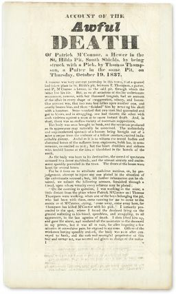 Account of the Awful Death of Patrick M'Connor, A Hewer in the. Broadside, Manslaughter, Thomas Thompson.