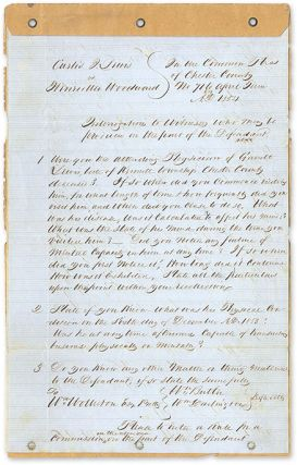 1854 Legal Interrogatory of a North Carolina Medical Doctor. Manuscript, Wills, Mental Fitness,...