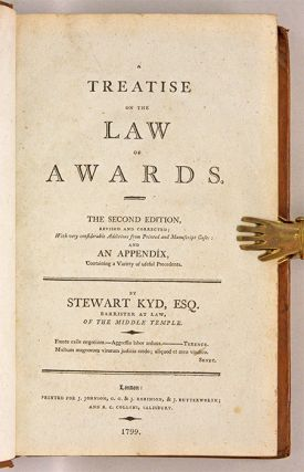 A Treatise on the Law of Awards. Rev. 2nd edition. London, 1799.