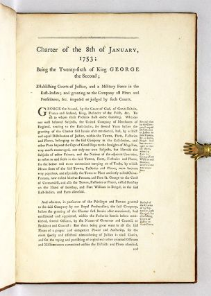 Charter of the 8th of January, 1753; Being the Twenty-Sixth of King..