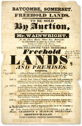 Freehold Lands, To be Sold by Auction, By Mr. Wainwright, At the Three. Broadside, Land Auction, Great Britain, Batcombe.
