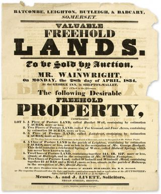 Valuable Freehold Lands, To be Sold by Auction, By Mr Wainwright. Broadside, Land Auction, Great Britain, Batcombe.