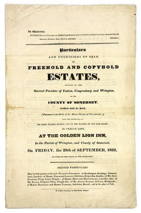 Particulars and Conditions of Sale, Of Freehold & Copyhold Estates. Land Auction, Great Britain, Poole and Gamlan.