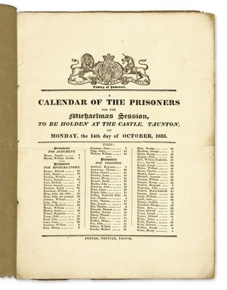 A Calendar of the Prisoners for the Michaelmas Season, To be Holden. Criminals, Great Britain.