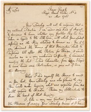 "Autograph Letter, Signed, Addressed to ""My Lord,"" March 21, 1761. Manuscript, Sir William..."