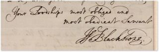 """Autograph Letter, Signed, Addressed to """"My Lord,"""" March 21, 1761..."""