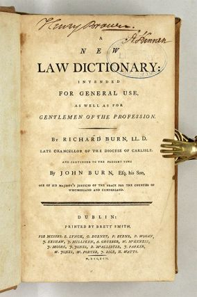 A New Law Dictionary, Intended for General Use, as Well as For...