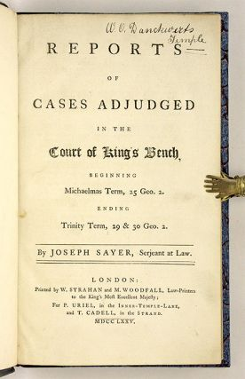 Reports of Cases Adjudged in the Court of King's Bench, Beginning...