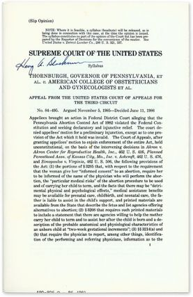 Thornburgh, Governor of Pennsylvania, Et Al v. American College of. Supreme Court of the United...