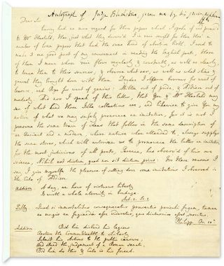 Autograph Transcription Signed ('W.B.'), 1 April 1779, London. Manuscript, Sir William...