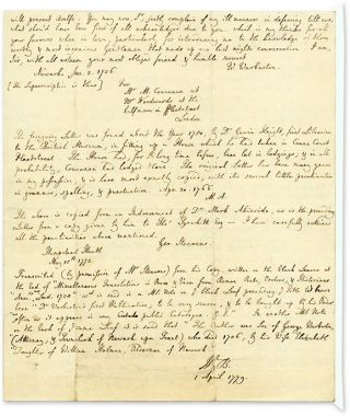 Autograph Transcription Signed ('W.B.'), 1 April 1779, London...